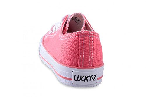 Kinder Unisex Canvas Leinwand Sneaker Basic Low Schnürschuh in verschiedenen Farben, Größe 30-35 Silver Red