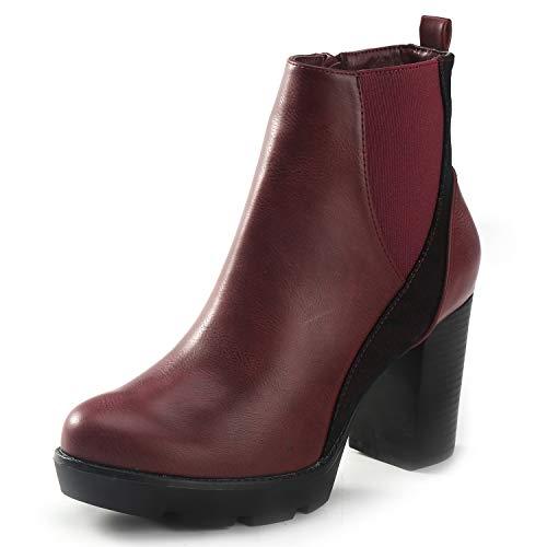 Alexis Leroy Pointed Toe Botas caña Alta Mujer Botas con Cremallera Lateral Botines Rojos Mujer Invierno 2018 4 UK/37 EU