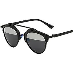 ASCHOEN Damen Unisex UV400 Runde Metalle Rahmen Sunglasses Klassiker Sonnenbrille Verspiegelt Brille Schwarz