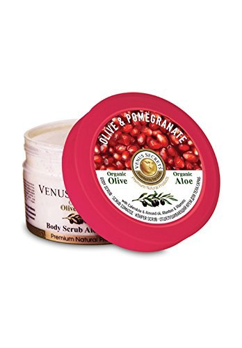Venus Secrets Natural Body Scrub Olive & Pomegranate - 280ml - Moisturizes and softens skin - Deep Hydration and Exfoliation That Lasts All Day - Full Body Exfoliation Reveals a Moisturized New Layer of Younger Looking Skin