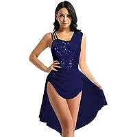ranrann Vestido de Ballet Mujer Maillot de Patinaje Artístico con Lentejuelas Hombro Descubierto Chifón Irregular Vestido de Danza para Mujer Chica