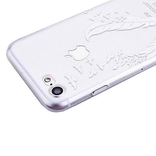 GrandEver iPhone 7 Weiche Silikon Hülle Cover Silikonhülle Crystal Klar Schlank TPU Bumper Transparent Handyhülle Weich HandyTasche Flexible Ultra Slim Anti-scratch Schutzhülle Zurück Skin Backcover T Feder