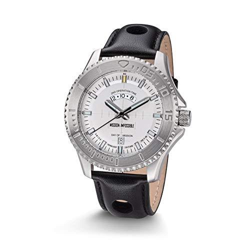 Kronsegler Mission Impossible H3 Tritium Uhr Stahl-Weiss Lederband Schwarz