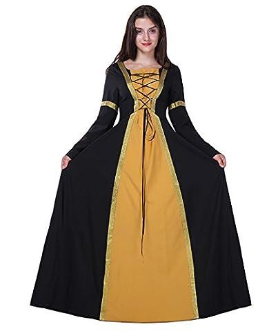 Honeystore Damen's Kostüm Halloween Fasching Karneval Hexe Vampir Lady Mittelalter Zauberin Gelb L (Frauen-power Ranger Kostüm)