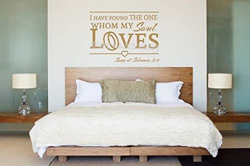 nkfrjz The One My Soul Loves Romantisches Lied von Solomon Love Quote Wandaufkleber für Jungvermählten Hochzeiten Schlafzimmer Wohnzimmer Wandbild 4 2X33CM