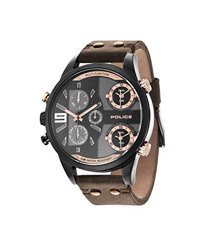 Police Herren-Copperhead Zwei Zeit Zone Edelstahl-Quarz-Uhr mit Braun Lederband 14374jsu/12