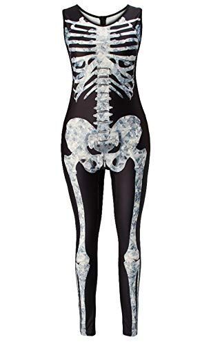 RAISEVERN Rose Skeleton Bedruckte Halloween Kostüm Overalls Damen All Saints 'Day ärmellose Overalls Cosplay Sexy Bodysuit (All Saints Kostüm)