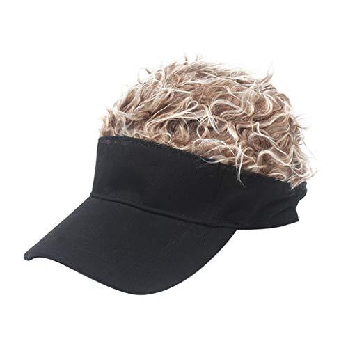 7f674d8a9f817a Uomo Cappello con Visiera e Parrucca | Moda Acconciatura Tendenza Cappello  Baseball Visiera Nero - Carnevale