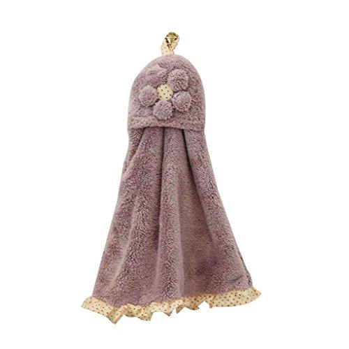 GOTTING Infantil del bebé de los niños de coral de terciopelo toalla de mano absorbente de la toalla de baño Cocina colgantes de limpieza de tela saliva del pañuelo Púrpura