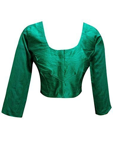Indian plain JADE Raw Silk ready made saree blouse Top Choli.