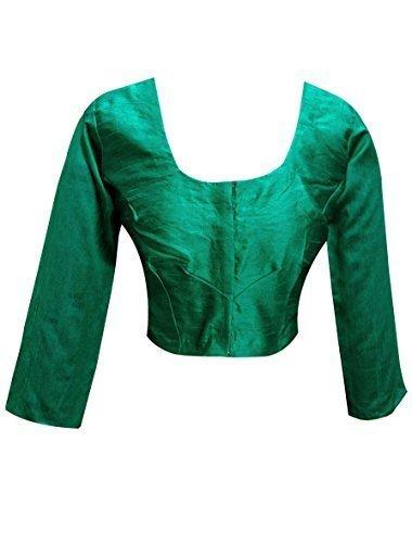 Indian plain JADE Raw Silk ready made saree blouse Top Choli.