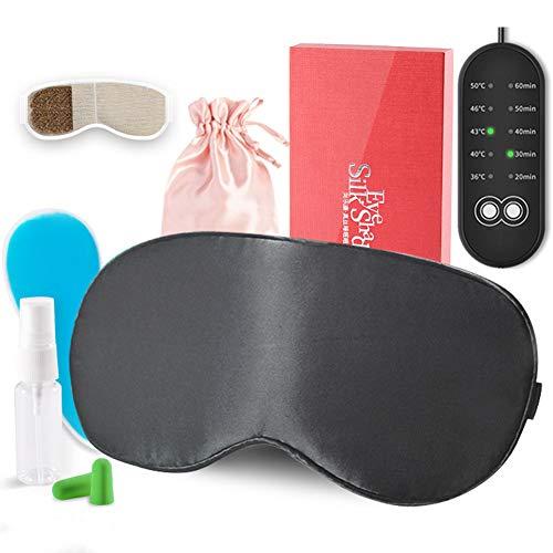 W&Z Augenmaske zum Schlafen und Lindern von Augenstress, USB-Dampfaugenmaske mit Einstellbarer Temperatur und Timer, beheizte Seidenaugenmaske für Augenringe,Black