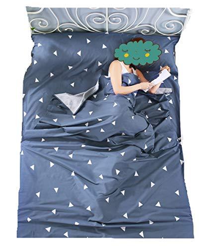 Stillshine Einzel/Doppel Schlafsack Liner Outdoor Baumwolle Schlafsack Tragbare Camping Reise Schlafsack Matratze Bettlaken Isomatte (80 * 230cm, Blaues Dreieck)