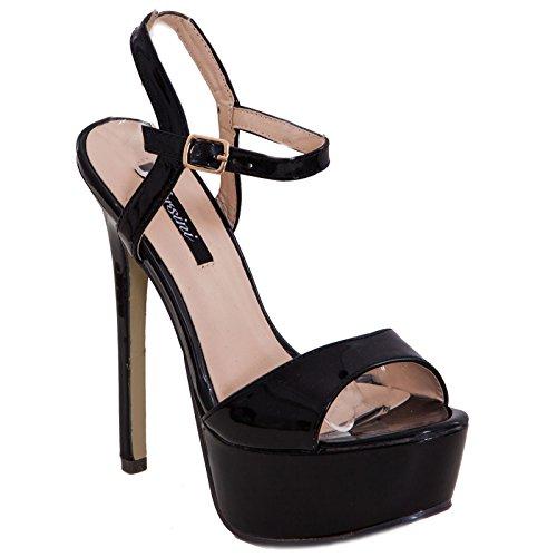 Toocool - Scarpe donna sandali decolletè decoltè lucide vernice cinturino nuove tacco alto RD-21104 Nero