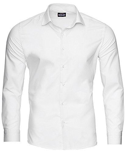 Reslad Herren Hemd Slim Fit Bügelleicht Freizeithemd Businesshemd Hochzeit Hemden Anzug Uni Einfarbig Weiße Hemden RS-7002 Weiß 2XL