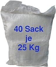 1 Tonne hochwertiges Streusalz - Auftausalz / 40 Sack a 25 kg auf Palette / Winterdienst Streuen Glatteis Winterstreuung