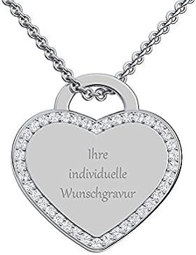 Herz Kette Gravur Silber 925 von AMOONIC + GRATIS Luxusetui + Kettenanhänger mit Gravur persönlich Gravurplatte...