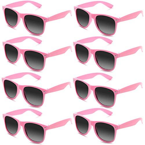 FSMILING Neon Farben Party Gefälligkeiten Herzform Sonnenbrille Set für Kinder Erwachsene (8 Stück Rosa)