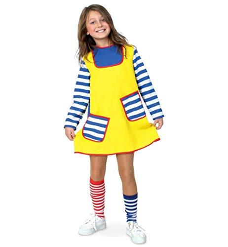 Kleid Und Weiß Blau Gestreiften Kostüm - KarnevalsTeufel Kinderkostüm Freche Göre Kleid in gelb mit blau-weiß gestreiften Details Karlinchen Verkleidung Räubertochter (140)