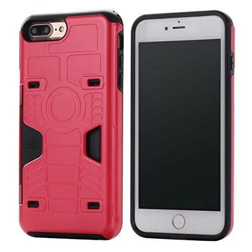 """iPhone 7 Plus hüll,Lantier Kreative Anti Skid Beschaffenheit Entwurf [weicher harter Tough Case] Stoß Anti Tropfen Dual Layer Hybrid Schutzüberzug mit (Card Slot) für iPhone 7 Plus 5,5"""" Silber Red"""