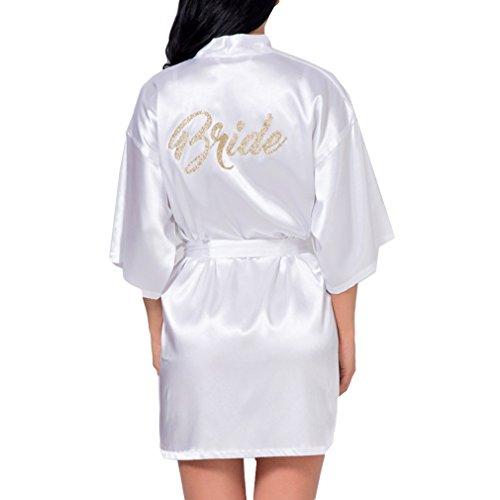 Braut-robe (Hibote Weding Braut Brautjungfer Robe Hochzeit Kimono Bademantel Satin Silk Kleid weiße Braut)