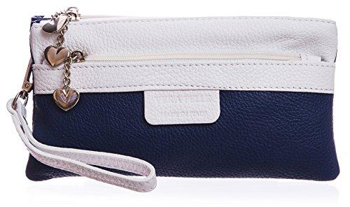Big Handbag Shop, Poschette giorno donna Blu (Marine - weiß Trim)