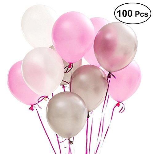 12 zoll Luftballons,Runde Latex Ballons Party Dekoration Luftballons für Geburtstag Hochzeit Baby Dusche (Assorted Weiß Rosa Silber Luftballons) ()