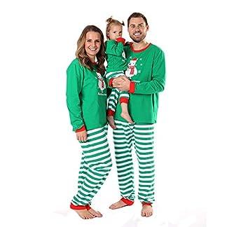 Baywell Navidad Familia Pijamas de Vacaciones a Juego Muñeco de Nieve Impreso Raya Ropa de Dormir Conjuntos de Ropa Dos Piezas Top Manga Larga Pantalones Rayas