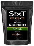 Sixt-BBQ I Räucherchips Apfel Premium I Wood-Chips für Kugel-Grill & Barbecue, Raucharoma durch Holz-Späne I 100% natürlich fruchtiger Geschmack, für Gas/Smoker/Kohle-Grill I 600g