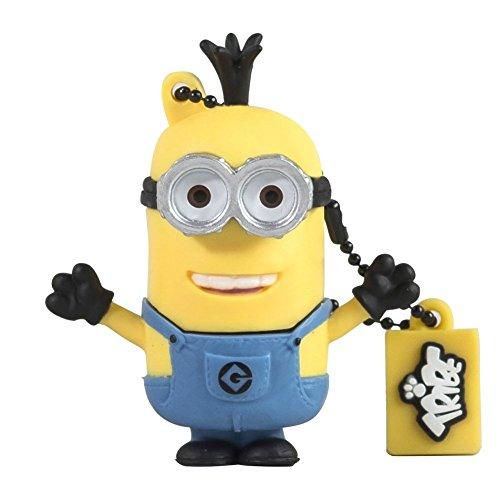 Tribe minions cattivissimo me tim chiavetta usb da 8 gb pendrive memoria usb flash drive 2.0 memory stick, idee regalo originali, figurine 3d, archiviazione dati usb gadget in pvc con portachiavi - giallo