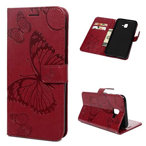 Edauto J6+ 2018 Hülle Case für Samsung Galaxy J6+ 2018 Schutzhülle Wallet Flipcase Großer Schmetterling PU Handyhülle Handytasche Geldbörse Karteneinschub Magnetverschluß Ständer Tasche Rot