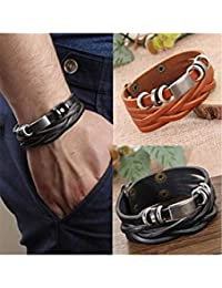 ELECTROPRIME Men's Vintage Multilayer Braided Faux Leather Bangle Cuff Bracelet Wristband
