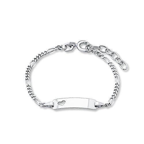 Amor Kinder-Armband ID Identarmband Mädchen Herz 925 Sterling Silber 12 + 2 cm inkl. Wunschgravur