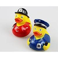 Farbenfrohes Badequietscheentchen Quietscheente Gummiente Badeente - eine schöne Geschenk - Idee - lustig dekorativ und sofort einsatzbereit - nicht nur für Kinder eine tolle Überraschung (2 er Set ( Feuerwehrmann / Polizist ))