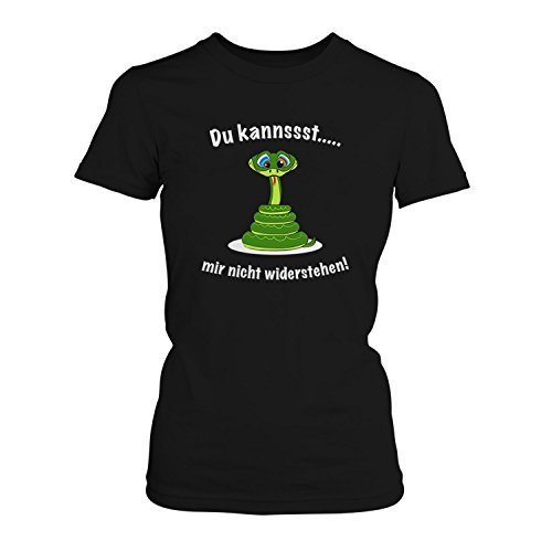 Du kannst mir nicht widerstehen! - Damen T-Shirt von Fashionalarm | Fun Shirt Spruch Spaß Schlange Hypnose Tier Party Flirten Lustig Feiern Dating Date Schwarz
