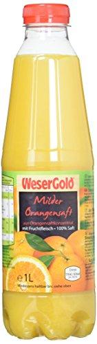 WeserGold Orangensaft 100%, 6er Pack (6 x 1 l) - Getränke Orangensaft