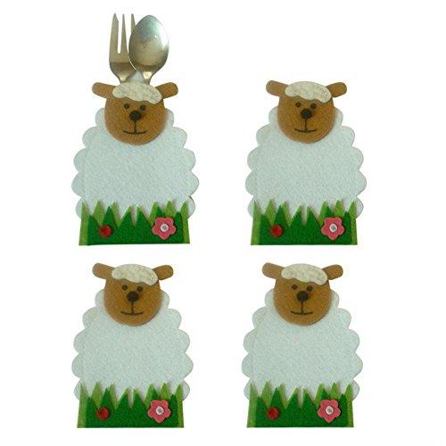 Haus Bag Von Hello (Say Hello Ostern Schafe Blume Design Messer Und Gabel Taschen Geschirrtücher Cartoon Besteck Taschen 4 Teile / satz)