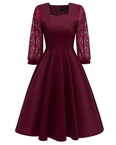 Laorchid Vintage Damen Kleid Spitzenkleid Cocktail A-Linie Knielang Trompetenärmel Burgundy XL