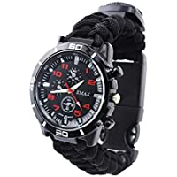 KOBWA 6 in 1 Survival Bracelet Watch, Men & Women Outdoor Emergency Military Sport Watch With Compass/Paracord/ Whistle/Flint/ Scraper, Multifunctional Survival Kit for Hiking, Boating, Adventure