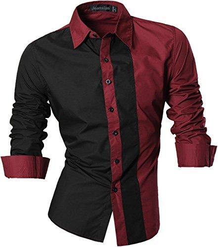 jeansian Herren Freizeit Hemden Shirt Tops Mode Langarmshirts Slim Fit 8397 Z017_WineRed
