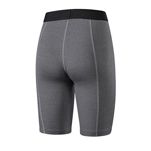 Vertvie Femme PRO Short Sport Compression Base Layer Pantalon Leggings Court Tight Capri Camouflage Yoga Fitness Entraînement Cyclisme Gris