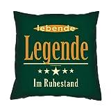 Witziges Kissen / Sofakissen als Geschenk für Rentner : Lebende Legende im Ruhestand ---mit Füllung--- Fb:dunkelgrün