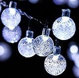 Oledank Solar Lichterkette Garten Globe Außen mit LED Kugel 6m 30er LED 2 Modi Kaltweiß Außenlichterkette Wasserdicht Beleuchtung für Weihnachten [Energieklasse A++]