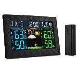 Funkwetterstation mit LCD Farbdisplay, iLifeSmart TS-Y01 Wetterstation inkl. Außensensor, DCF-Empfangssignal, Innen- und Außentemperatur und Hygrometer, Wettervorhersage Piktogramm, Tendenzanzeige