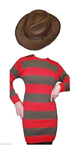 OASIS FASHION Damen-Kostüm Freddy Krueger rot-weiß-gestreifter Pullover Halloween Fancy Dress und Mütze, Größe S/M/L, Größe M, L/XL, XXL (Freddy Krueger Kostüme Kind)