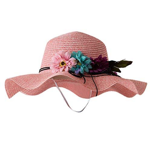 Julhold Sveglio Elegante Fiore Traspirante di Paglia Cappello da Sole per Bambini Cappello Ragazzo Ragazze Cappelli Poliest