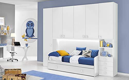 Dafne italian design cameretta completa a ponte - bianco (doppio letto singolo e armadio) (cm. 300 x 96 x 259h)