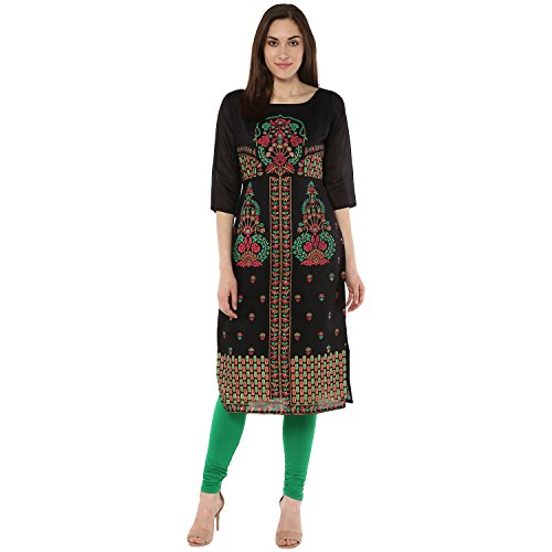 Indimania Women's Black Color 3/4 Sleeve Colour Pigment Print Straight Festive Wear Chanderi Silk Kurta (IMKUCH20031)  available at amazon for Rs.603