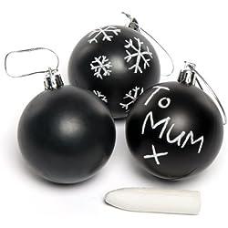 Palline natalizie completamente nere con cordino argentato, da disegnare, decorare e personalizzare a Natale - Oggetti fai da te da decorare con gessetti (confezione da 5)