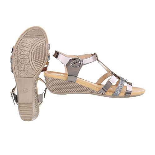 Keilsandaletten Damenschuhe Plateau Keilabsatz/ Wedge Keilabsatz Schnalle Ital-Design Sandalen / Sandaletten Silber Grau
